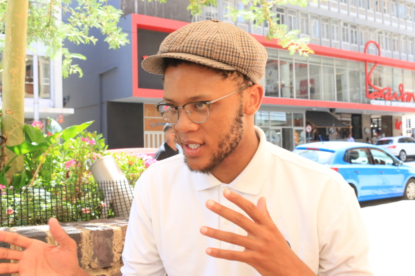 LOCKED UP: Wits EFF chairperson Vuyani Pambo talks freedom and education following his detainment yesterday. Photo: Tendai Dube