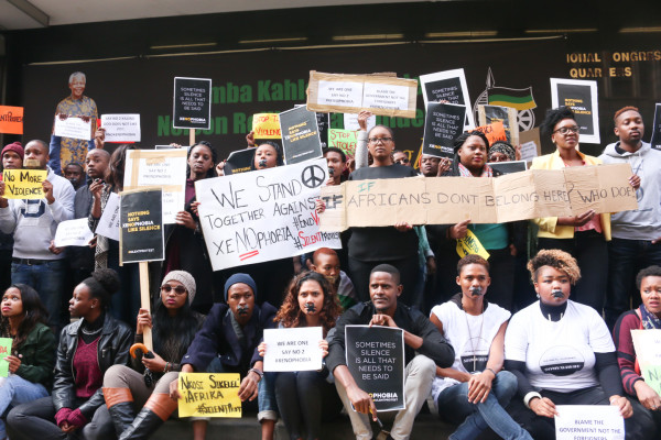 SILENT PROTEST: group of youngsters sit quietly in front of Luthuli house in Johannesburg CBD. Photo: Rafieka Williams