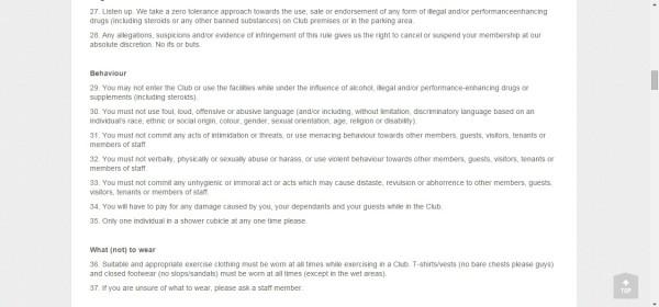 Screenshot of Virgin Active's club rules. Image:  Samantha Camara
