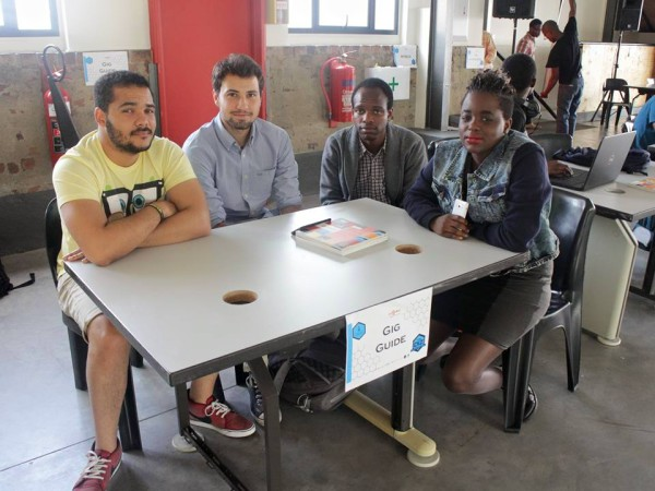 Aniss Krid, Gary Bezuidenhout, Elishahidi Mvungi,  and Linda Khumaloat (from left) were part of the winning team at the DIZSparks App Challenge. They created the Gig Guide app for students to find events near them based on their interests. Photo: Provided