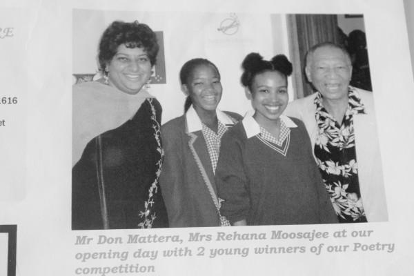 EMPOWERING POETS: Rehana Mosajee (from left) Portia Monama, Katleho Sekhotho, Don Mattera (right). Photo: Mrs Rice