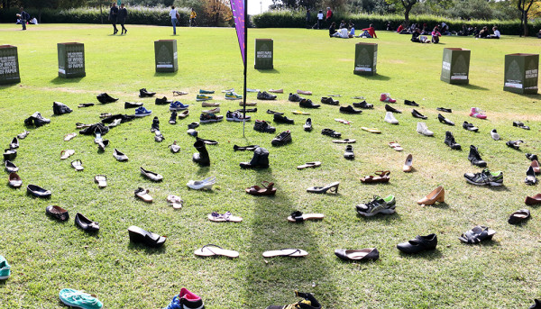 Shoes donated by students form a ring to commemorate #OneDayWithoutShoes Photo: Mokgethwa Masemola