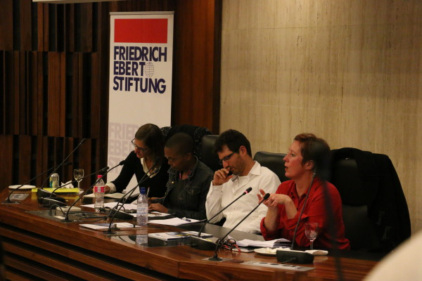 The speakers at the launch of the National Minimum Wage Research Initiative on Monday. Photo: Aarti Bhana