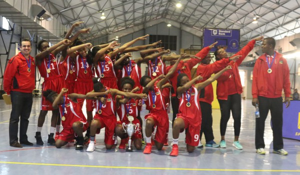 FIRST DIVISION WINNERS: Under-18 Mozambique National Team dabs for the cup.               Photo: Wendy Mothata