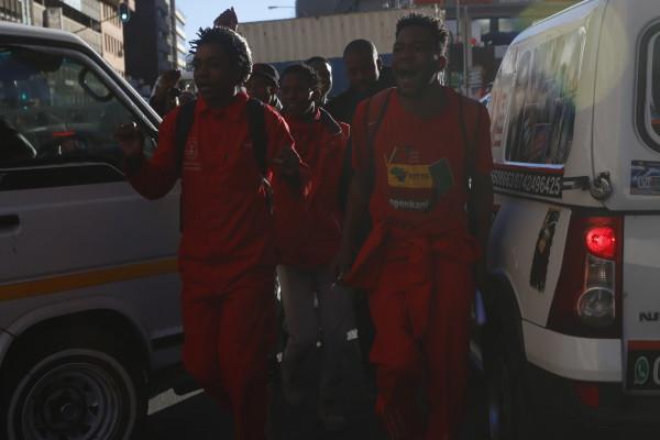 RED ALERT: Revolutionaries of the EFF wearing their trademark red overalls. Photo: Nokuthula Zwane