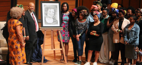 PASSING THE BATON: The students from Pretoria Girl's high commemorate Prof Davis with a self portrait at the 17th annual Steve Biko Memorial lecture