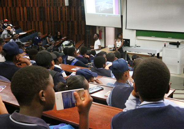 High School learners being educated about career paths by student volunteers Photo: Aarti Bhana