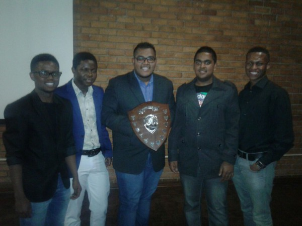 SOME OF THE SPEAKERS:  From right Thabang Mabula(1st speaker), Uvir Naidoo (3rd Speaker), Yashvir Bunwarie(head coach), Ntsundeni Ndou(student development) and Yao Neo Agbenyegah (2nd speaker). 4 out of the 6 Knockando speakers ranked in the top 5 speakers of the competition. These debaters were Uvir Naidoo, Luxolo Matyeni, Thabang Mabula, and Gershom Chauke.    Photo: Provided.