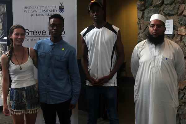 Winners: From left, Art competition winner Allyson Smith and runner-up, Sibongiseni Kwabe with essay runner-ups Nkosinati Maluleke and Hudhaifa Hassen