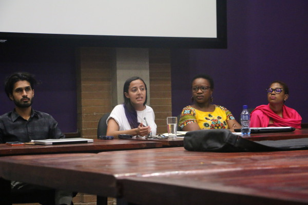 TOUGH TALK: Panellists, from left to right, Fasiha Hassan, Sikelelwa Mdingi and Omphithletse Mooki speak about the media coverage of Fees Must Fall in 2016. Photo: Juniour Khumalo